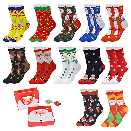 Loozykit 12 pares de calcetines de Navidad unisex con motivos navideños, Navidad, festivos, otoño, invierno, divertidos patrones, cálidos, de algodón, para hombre y mujer, Multicolor., Talla única
