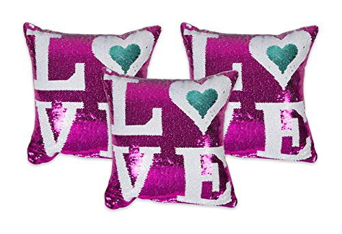 NEHA HANDICRAFTS Sequence Work Cushion Covers 16' X 16' Inches, Pink And White Colour Sequence, 3 Pieces
