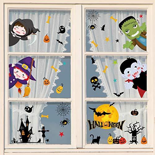 Tuopuda Halloween Decorazioni Adesivi per Finestre Vetrine Gatto Pipistrello Fantasma Vetrofanie Raccapriccianti Halloween Sticker Accessori Halloween per Halloween Party Festival (Multicolore)
