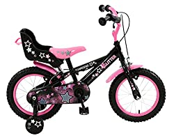 14 inch Glitter steel spoked wheels with gloss pink rims and midnight black tyres. Twin calliper brakes with adjustable, child friendly easy reach brake levers . Gloss black hi-tensile steel frame with matching rigid forks. Fully enclosed colour co-o...
