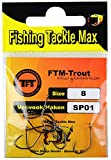 FTM Anzuelos sin rebaba – 10 anzuelos para truchas, anzuelos individuales para señuelos de trucha, anzuelos artificiales para pesca de trucha, tamaño: 8