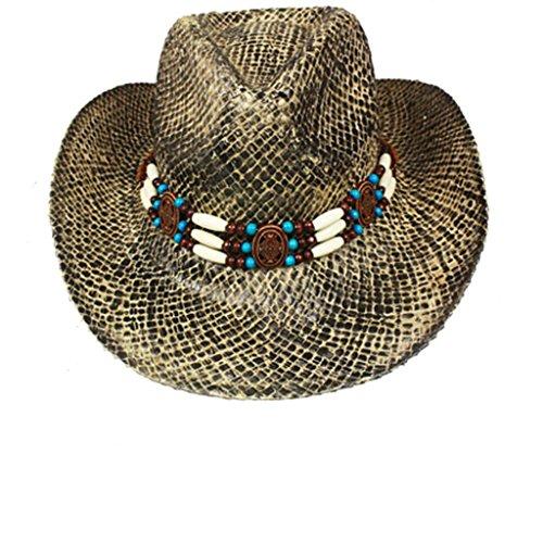 Chapeau de paille Cowboy Western Hat Strohhut DISTRESSED PINCH WST/BLA (L/XL)