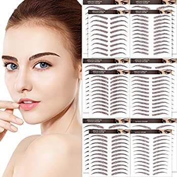 Aresvns Eyebrows Tattoo 130 Pairs! Reddish Brown Chocolate Color  4D Tattoos Eyebrow,Realistic Imitation Eyebrows,6 Styles Eyebrow Shapes,Suitable Sizes,Eyebrow Transfers Stickers