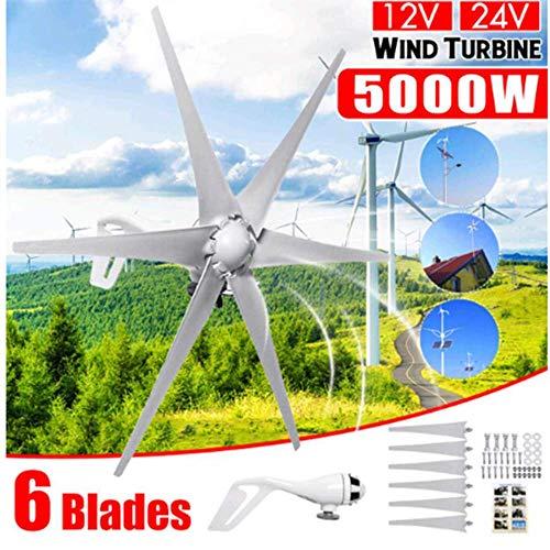 SISHUINIANHUA 5000W 12V de 24 voltios 6 de Fibra de Nylon Palas de turbina eólica casera Horizontal de la turbina de Viento Molino generador de energía Energía de Carga para el hogar,24v