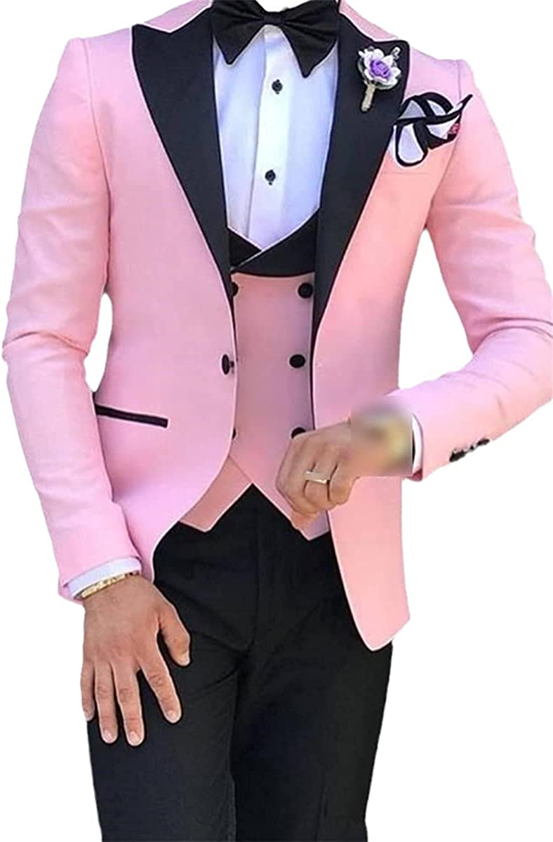 Lapel Men's Suit Custom Groom 3 Piece Wedding Suit Jacket + Pants + Vest