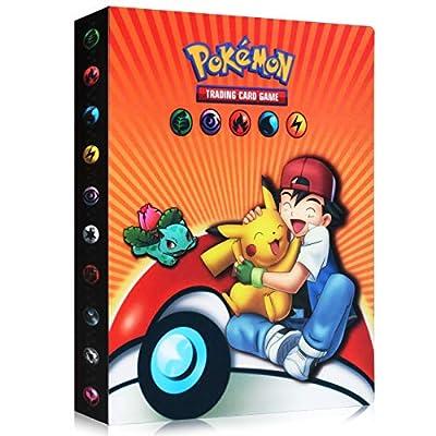 Funmo Pokemon Cartas Álbum, Álbum de Pokémon Álbum Titular de Tarjetas Pokémon, Álbum de Entrenador de Cartas Pokémon Protección, 30 páginas 240 Tarjetas Dobles (Orange Xiaozhi) por Funmo