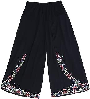 CHLXI Pantalones Kung Fu Tai Chi Pantalón Estilo Nacional Bordado Pantalones Anchos de Pierna Suelta algodón Romano Pantalones Casuales Mujeres