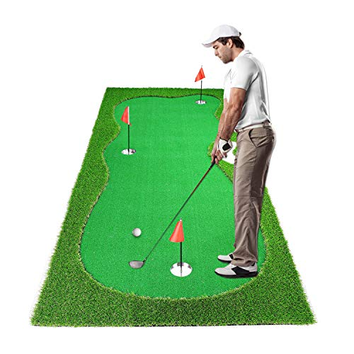 Luricaa Golf Putting Green Mat for Indoor Outdoor, Professional Golf Training Mat Aids for Professional Golf Practice (4x10ft Green)
