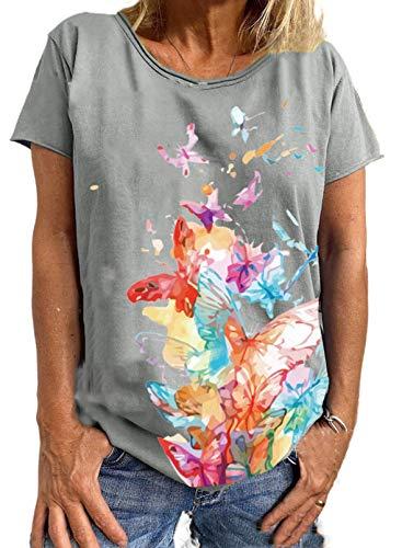 FOBEXISS Blusa casual de manga corta con cuello redondo, estampado de mariposas, ligera, holgada, para mujer.