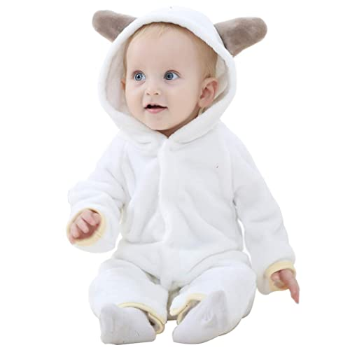 COOKY.D Newborn Baby Hooded Romper Winter Jumpsuit Pajamas 0-24 Months