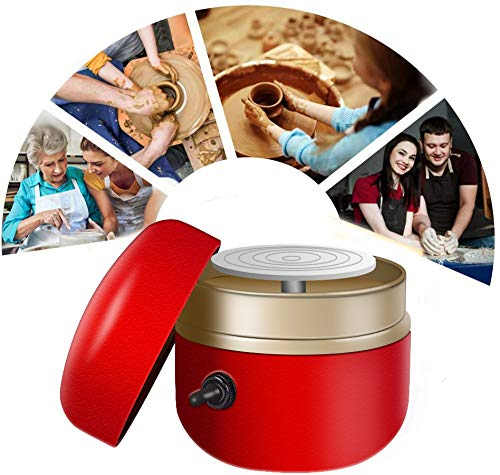 Adjustable Speed Mini Electric Pottery Wheel Machine, 2.5 Inch 1500RPM Clockwise and Counterclockwise Mini Pottery Machine Used As DIY Clay Tool with Tray for Ceramics Art