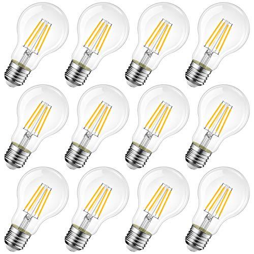 12X Lampadina LED E27 a Filamento,6.5W Equivalenti a 60W,2700K Luce Bianca Calda,806LM,LVWIT A60,Stile Vintage Retrò,Consumo Basso,Risparmio Energetico,Non Dimmerabile
