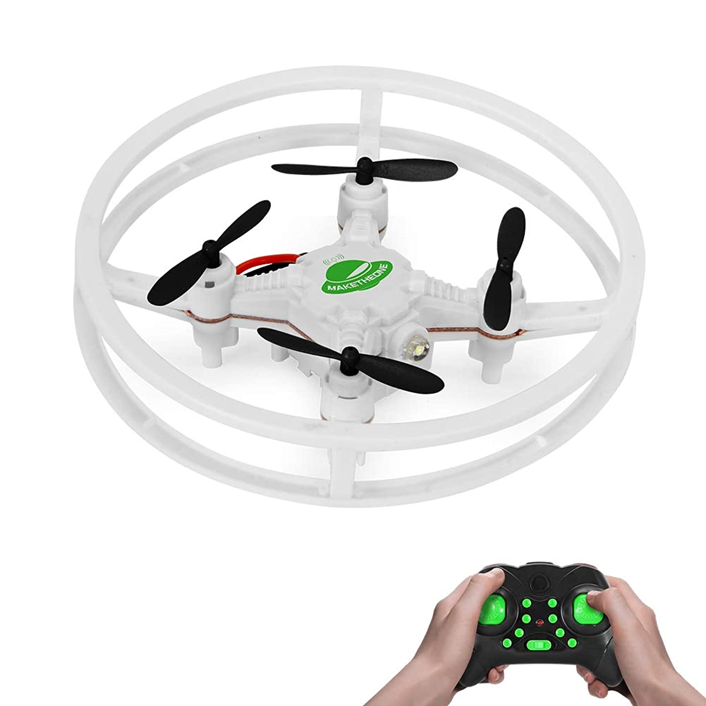 RC Nano Drone, MAKETHEONE Super-F Mini Racing Drone 4CH 2.4GHz 6-Axis Remote Control Quadcopter Helicopter RTF with Headless Mode Flash LED (UFO White)
