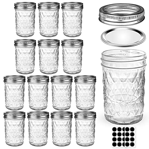 Mason Jars 8 OZ, AIVIKI Glass Regular Mouth Canning Jars with Silver Metal Airtight Lids and Bands for Sealing, Canning, Dry Food, Preserving, Jam, Honey, Jelly, Meal Prep, Overnight Oats, Food Storage, Salads 15 Pack 20 Whiteboard Labels