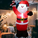 ACH Inflatable Christmas Decorations 8ft Santa Claus for Holiday Outdoor and Indoor Yard-Led Light Giant and Tall Blow up Santa Clause for Party Outhouse Garden Lawn Winter Xmas Decor-Quick Air Blown
