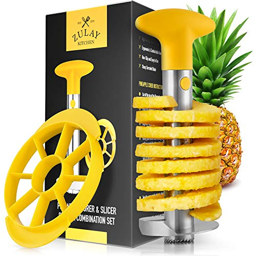 Zulay Pineapple Corer and Slicer Tool Set - Heavy Duty Stainless Steel...