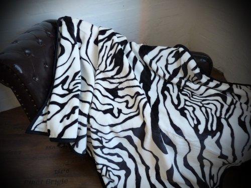 Natur-Fell-Shop Kuscheldecke Tagesdecke Decke Zebra - Design 160x200cm