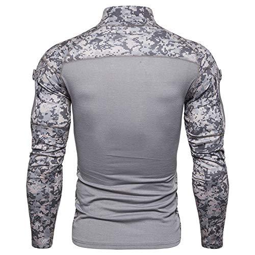 PRJN Men's Sweatshirt Outdoor Fitness Camouflage Long Sleeve Zipper Elastic Comfortable Half Zipper Running top Men's Army Outdoor Fitness Base Shirt Camouflage Long Sleeve Zipper Pocket T-Shirt