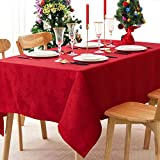 Jacquard Christmas Tablecloth 60' x 84' Rectangle Elegance Leaf Pattern Table Cloth, Washable...