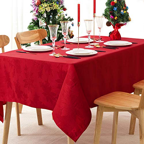 Christmas Jacquard Tablecloth Red 60x120 Rectangle Elegance Tablecloths, Spill Proof Washable Polyester Tabletop for Kitchen Dinning, Holiday Dinner