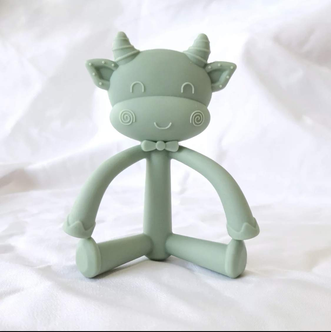 Easy to Hold Silicone Teether Cow Shaped Rose Dawn