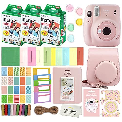 Fujifilm Instax Mini 11 Instant Camera with Case, 60 Fuji Films, Decoration Stickers, Frames, Photo Album and More Accessory kit (Blush Pink)