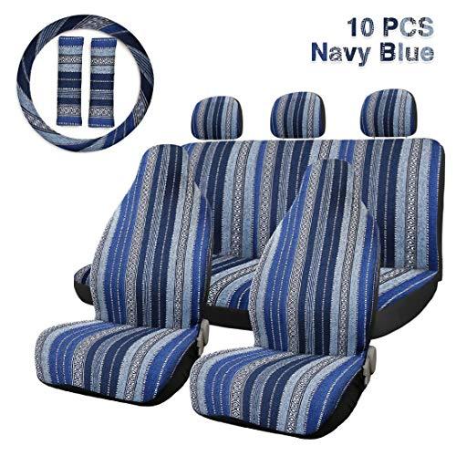 Funda Asiento Coche Asiento 10pcs raya multicolor Cubierta Baja silla Manta de la armadura de la cubierta del asiento del cubo de Automviles y furgonetas con Cubierta del volante Protector de asiento