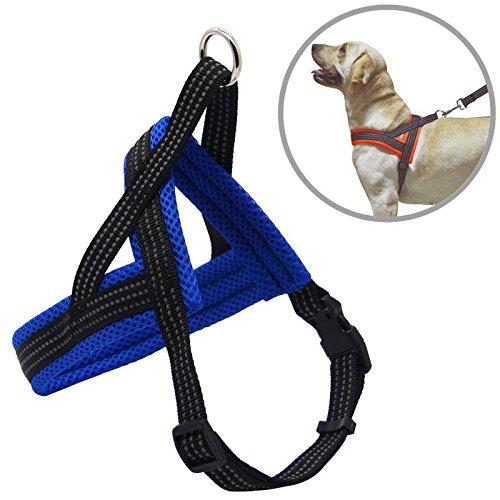 BPS® Arnés Correa para Perros Mascotas Collar Ajustable 4 Tamaños Colores para Elegir para Perro Pequeño Mediano y Grande (L, Azul) BPS-3883A