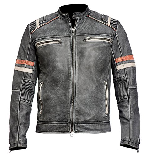 Vintage Retro 2nd Edition Cafe Racer Distressed Black and Plain Black Biker Genuine Leather Jacket