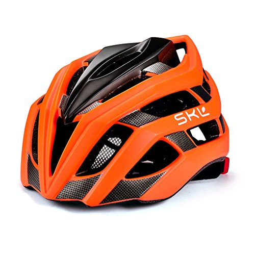 Casco de bicicleta, SKL Ultraligero Casco De Bicicleta Unisex Con La luces traseras LED de Seguridad ajustable de guía / Cascos de bicicleta de montaña hombres y mujeres, 56 - 61 cm (naranja)