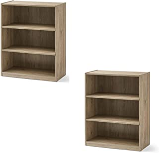 Mainstay Easy to Assemble, Contemporary Style, 3-Shelf Wood Bookcase (2 Pack, Rustic Oak)