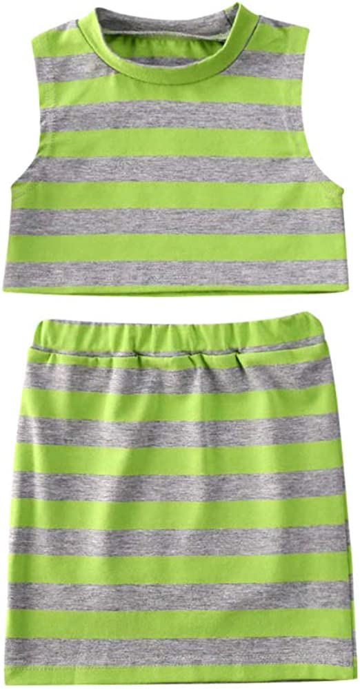 Toddler Girl New products, world's highest quality popular! Free shipping Summer Outfits Sleeveless Stripe Tops+Elastic Vest