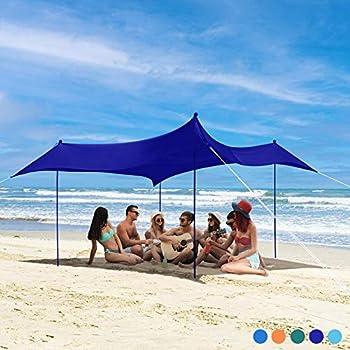 Bessport Tente de Plage 3×3m | UPF 50+ UV | Abri de Plage Familial avec Sac fourre-Tout à mât en Aluminium d'ancre de Sac de Sable Convient pour la Plage Le Camping Le Parc la Cour