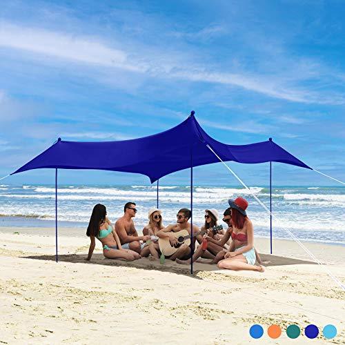 Bessport Tiendas de Playa Refugio de Playa con 4 Anclas de Arena, 4 Postes de Aluminio y 4 pilotes 3M x 3M |UPF50+ UV Protection| Adecuado para Playas picnics Parques Jardines Familiares