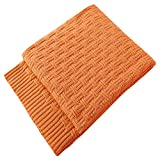TREELY 100% Cotton Knitted Throw Blanket Couch Cover Blanket(50 x 60 Inches, Orange)