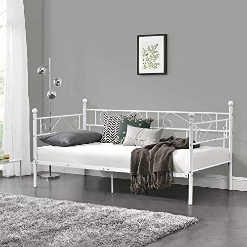 [en.casa] Tagesbett 90x200 Weiß Metallbett Bett Daybed Bettsofa Kojenbett Jugendbett Gästebett