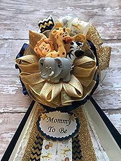 Navy Blue & Gold Safari Animal Baby Shower Corsage, Mommy To Be Safari Animal Baby Shower, Safari Animal Theme