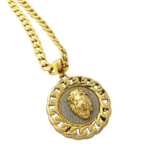 Exo Jewel Cuban Link Framed Medallion Pendant Stainless Steel Necklace with 24' Chain (Lion Gold)
