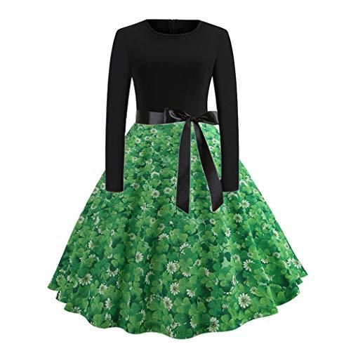 Cuteelf St Patrick's Day Kleider Langarm GlüCkliches Kleeblatt Casual Abend Kleeblatt Mit Herz Party Prom GrüNe Damen Kleider Swing Dress Mode Frauen Kleider