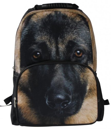 Animal Face 3D Animals German Shepherd Backpack 3D Deep Stereographic Felt Fabric