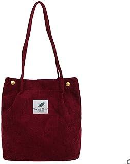 Funtlend Handtasche Damen groß Cord Tasche Damen Handtasche Shopper Damen für Uni Arbeit Mädchen Schule