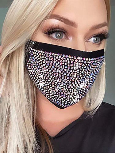 Abien Sparkly Crystal Mesh Mask Rhinestone Masquerade Face Cover Ball Party Nightclub Mouth Covering for Women and Girls (Black)