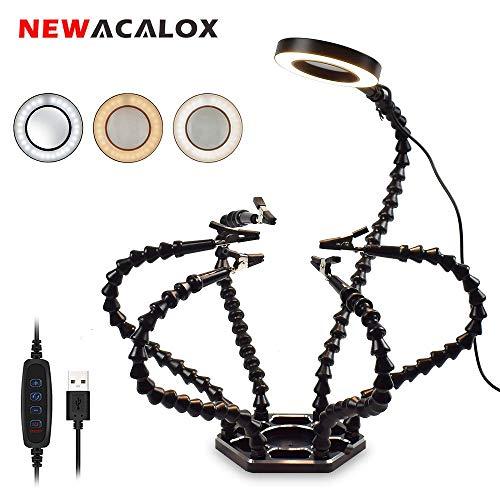 Flexible Lötstation mit helfenden Händen, NEWACALOX Dritte hand 6 helfende Arme Lötstationen Werkzeug mit 3X Lupe