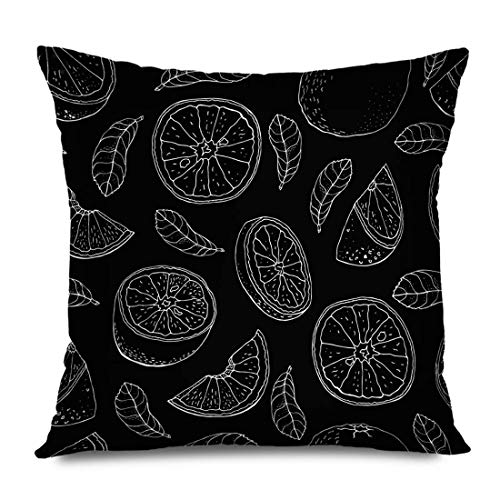 Throw Pillow Cover Square 16x16 Green Summer Linens Vitamin Orange Nature Citrus Pattern Composition Emblem Food Juice Slice Juicy Decorative Pillowcase Home Decor Zippered Cushion Case 18' X 18'(IN)