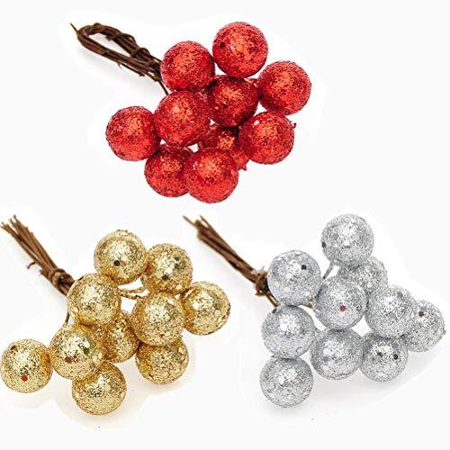 WarmShine 60 Pcs Christmas Tree Ornament Christmas Berry Picks Decorations Xmas Tree Wedding Centerpiece (Silver,Red,Gold)