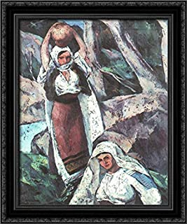 Two Peasant Women 20x24 Black Ornate Wood Framed Canvas Art by Ion Theodorescu Sion