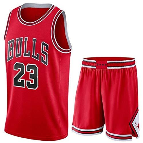 Camiseta Baloncesto Jersey NBA Hombres De Michael Jordan # 23, Transpirable Resistente Al Desgaste Bordó La Camiseta De La Camiseta + Pantalón Corto, XS-XXL, FHI012IHF (Color : Red, Size : XL)