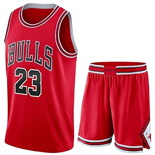 Camiseta Baloncesto Jersey NBA Hombres De Michael Jordan # 23, Transpirable Resistente Al Desgaste Bordó La Camiseta De La Camiseta + Pantalón Corto, XS-XXL, FHI012IHF (Color : Red, Size : L)