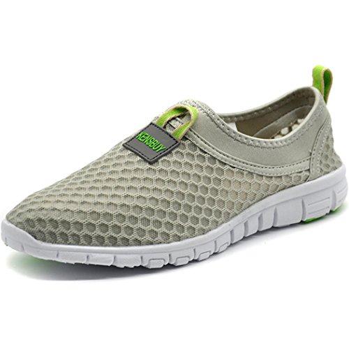 KENSBUY Women's Lightweight Slip on Mesh Shoes Quick Drying Aqua Water Shoes Athletic Sport Walking Sneaker (Grey Green EU40)