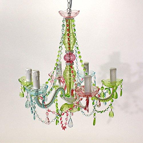 Voss Design Ausgefallener Kronleuchter bunt Amy 6-flammig 51cm farbig Rot Blau Grün Deckenlampe
